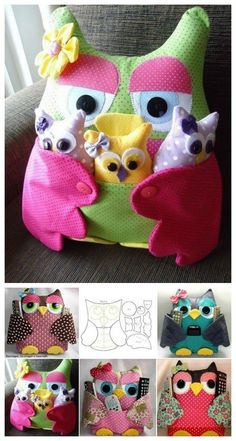 owl pillow and remote control holder with free pattern