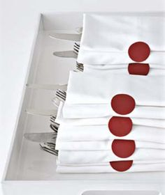 Decorate plain napkins with stickers