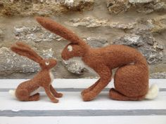 Needle felt hares by Karen Norton Designs on Facebook and Etsy