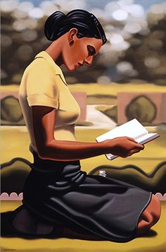 Nelson, Kenton (b,1954)- Woman Reading, Sitting on Ground (Lucidity) -2b {Duplicate Variation Below- this is lighter}