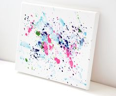 Wax Abstract Splatter Art Painting in Pink and Blue on Stretched 8x10 Canvas