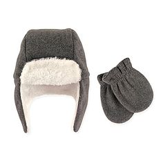 Hudson Baby® 2-Piece Trapper Hat and Mitten Set in Charcoal
