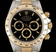 Rolex Zenith Movement Cosmograph Daytona Stainless Steel & Yellow Gold Black Dial B&P 16523 Cool Watches, Rolex Watches, Oyster Perpetual Cosmograph Daytona, Rolex Daytona Watch, Used Rolex, Swiss Army Watches, Expensive Watches, Gold