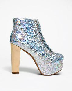 Jeffrey Campbell Lita Boot in Silver Hologram, TopShop, ASOS, House of Fraser, Nasty gal