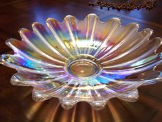 VIntage Carnival Style Iridescent Glass Bowl with by GrandmasPast. , via Etsy.