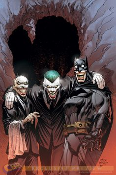 Joker and Alfred and Batman jokerised by Andy Kubert