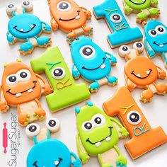 When your new favourite cookies are lil monsters! Halloween First Birthday, First Birthday Cookies, Boys 1st Birthday Party Ideas, Baby Boy 1st Birthday, First Birthday Parties, First Birthdays, Monster Birthday Cakes, Little Monster Birthday, Monster 1st Birthdays