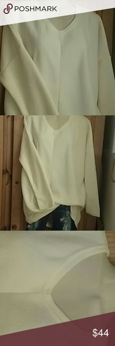 """Batwing V-neck pullover Off white, loose, long sleeve, v-neck pullover  32"""" long.      For more details see pictures in the listing of the gray top Tops"""