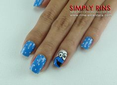 Nail Art: Cookie Monster and Elmo Monster Inc Nails, Cookie Monster Nails, Sassy Nails, Cute Nails, Elmo, Diy Nails, Manicure, Diy Nail Designs, Cute Cookies