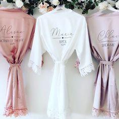 Bridesmaid Robes, Brides And Bridesmaids, Bridesmaid Proposal, Peignoir Satin, Bridal Robes Getting Ready, Lace Bridal Robe, Bridal Party Robes, Honeymoon Dress, Vogue