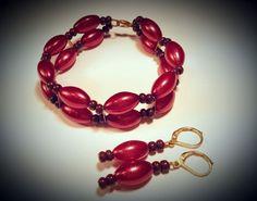 Vintage Czech Glass Bracelet Earrings Set Bead GOLD TONE RED