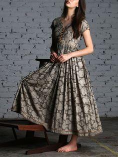 Printed mulmul maxi dress