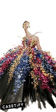 Fashion Drawing Dresses, Fashion Illustration Dresses, Paper Fashion, Fashion Art, Sketch Painting, Diy Painting, Illustration Art, Illustrations, Fashion Design Drawings