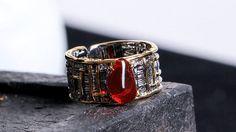 925シルバー natural   Fire Opal Ring Tourmaline lapis lazuli Garnet Emerald(Etsy のmikaincより) https://www.etsy.com/jp/listing/573507296/925shirub-natural-fire-opal-ring