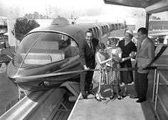 Vintage Disneyland, Vice President Nixon and family cut the rope on the Disneyland Monorail.   #Disneyland #Monorail #Nixon #Studio2719