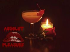 Absolut Pleasure (Rocky Horror Picture Show cocktail) Ingredients:1.5 oz Cherry Brandy (Kirschwasser used)1 oz Absolut Vodka1/4 oz Irish Cream1/4 oz simple syrupA few drops of Absinthe4 Maraschino Cherries Directions:First, evenly coat your glass with Absinthe.Muddle two cherries in a shaker and add ice, along with the remaining ingredients.Shake vigorously, and strain directly into the middle of your Absinthe coated glass.Garnish with two cherries.