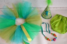 Green and turquoise Cake smash outfit for girl with by AggCrafts, £42.99