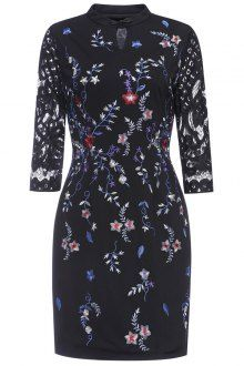 Embroidered Mandarin Collar Lace Panel Dress