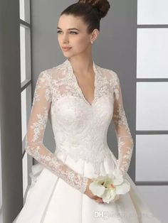 2016 Long Sleeves Wedding Dresses 2015 Kate Middleton Bridal Wedding Gowns V Neck Lace Appliques Satin Chapel Train A Line Wedding Dress Wedding Dresses Vintage Lace A Line Bridal Gowns From Alberta_dress, $129.34| Dhgate.Com