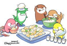 Cute Animal Drawings, Cute Drawings, Otter Cartoon, I Wallpaper, Manga Drawing, Food Illustrations, Otters, Cute Animals, Family Guy