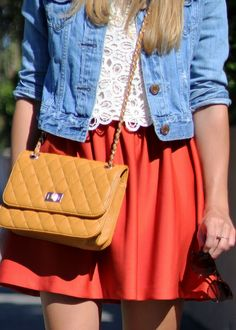 First of Fall - wearing denim jacket, lace crop top, orange dress and mustard bag