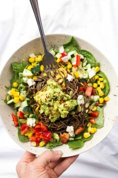 Spicy Southern California Black Bean Spaghetti Salad: Pasta made from black beans and topped with all sorts of fresh chopped vegetables makes this a light summer vegan dinner choice. Two kinds of mild dried chiles are the foundation for the spicy sauce that brings out all the flavors.
