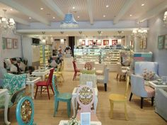 High Tea shop with bright and soft colours. Nice touch with the tongue and grove ceiling to give the tea room a soft character #commercialconstruction #shop #hightea #ceiling