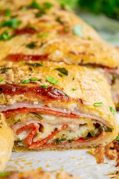 Classic Stromboli Recipe (Easy Dinner or Quick Appetizer!) Stromboli is basically rolled up pizza with mozzarella, ham, and salami. I threw in some pepperoni and pepper jack cheese just for fun. Dip in marinara! Quick Appetizers, Appetizer Recipes, Salami Recipes, Turkey Recipes, Pizza Recipes, Beef Recipes, Vegan Recipes, How To Make Stromboli, Easy Stromboli Recipe