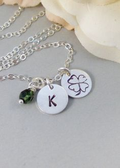 Shamrock,Sterling Silver Necklace,Silver Necklace,Personalized,Monogram,Birthstone,Stamped. Handmade Jewelery by ValleyGirlDesigns.. $32.00, via Etsy.