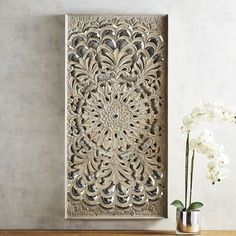 Champagne Mirrored Mosaic Damask Panel Deco Blanche