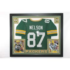 """Jordy Nelson Framed Autograped Green Bay Packers Jersey JSA.. Use Promo Code """"PBS15"""" and get 15% off purchases #UltimateAutographs"""