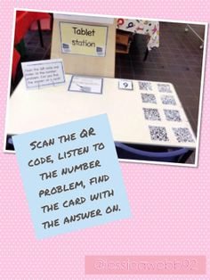 Scan the QR code, listen to the number problem and find the card with the answer on. EYFS