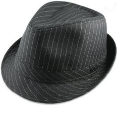 Private Island Party  - Black Gangster Pinstripe Fedora Hat, $9.99   Pinstripe Gangster Fedora Hats - Classic pinstripes available in both black on white and white on black - chic and sheen looking, this Pinstripe Gangster Fedora Hat has a sleek feel to it.