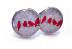 Red Birds in a Row on Blue Lace Silver Resin by MyBlossomCouture, $15.00
