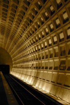 Inside a DC Metro station.