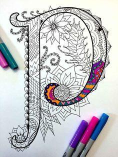8.5 x 11 página para colorear de la letra mayúscula P - inspirada en la fuente Harrington PDF  Diversión para todas las edades.  Aliviar el estrés, o simplemente relajarse y divertirse con tus lápices de colores favoritos, plumas, acuarelas, pintura, pastel o lápices de colores.  Imprimir en papel cartulina u otro papel grueso (recomendado).  Arte original de Devyn Brewer (DJPenscript).  Sólo para uso personal. Por favor, no reproducir o vender este artículo.  CÓMO DESCARGAR LOS ARCHIVOS…