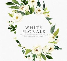 Watercolor floral Clip Art-Floral Frame/Individual PNG