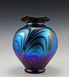 Bohemian Czech Art Deco Glass Vase Iridescent Glass Top Quality