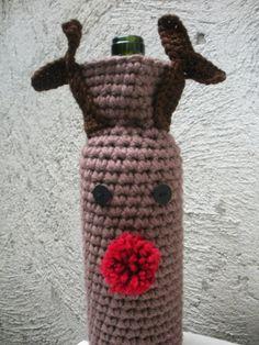PDF Pattern Crochet Rudolph Reindeer Wine Bag Holiday by LanadeAna by nita.pinger