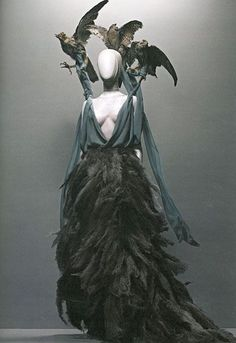 "Alexander McQueen. amazing, stunning. his collection inspired by Hitchcock's ""The Birds"""