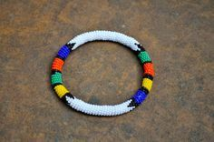 White African beaded bracelet traditional pattern by akwaabaAfrica