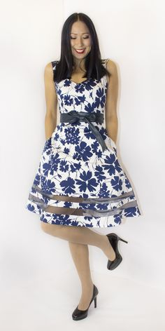 8a0cfa58a2bab Navy Floral V-Neck Audrey Dress - This classic fit and flare silhouette  works on