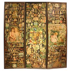 1880s Paper Decoupage Three-Fold Screen | From a unique collection of antique and modern screens at https://www.1stdibs.com/furniture/more-furniture-collectibles/screens/