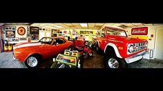 Mancave 1970 Ford Bronco, 1967 Chevy Camaro