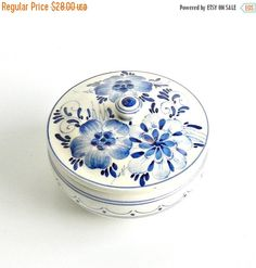 ON SALE Vintage Covered Pottery Bowl Dutch Blue & White Floral Hand Painted Signed Numbered Holland