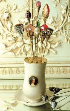 """Queen Victoria's Hatpin Holder    Hand painted porcelain. Holds 10 hatpins. 6 x 4"""" dia...love ♥"""