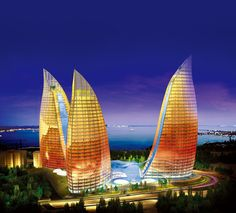 "::: (_( *: (=' :') :* •.. (,("")("")¤°.¸¸.•´¯`» Flame Towers, Baku , Azerbaijan"