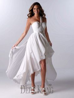 Short Wedding Gown with hi low hem - 11114. I love hi low hems this is perfect..well the hem is lol