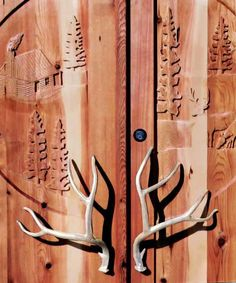Door Pulls - Deer Antler Hand Forged Iron- HH146 Want to put these on my library doors just off foyer. May use real ones though.