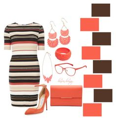 """""""Brown/Coral"""" by hinson-hunny ❤ liked on Polyvore featuring Dorothy Perkins, Jimmy Choo, Marc by Marc Jacobs, Mariah Rovery, women's clothing, women, female, woman, misses and juniors"""